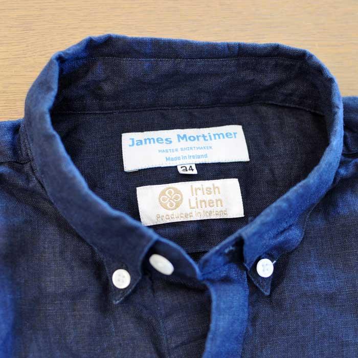 James Mortimer [ジェームスモルティマー] アイリッシュリネンレディースBDシャツ Navy