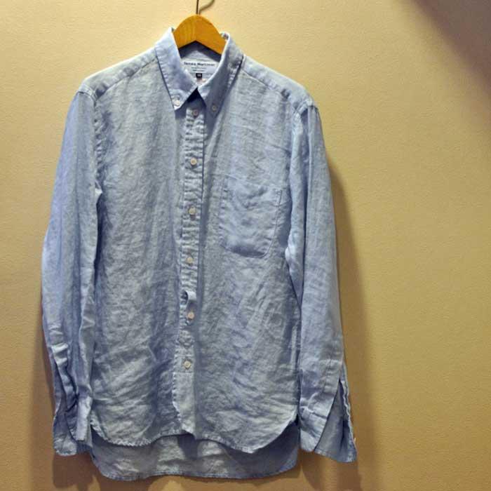 James Mortimerアイリッシュリネン BD POシャツ#Baby Blue