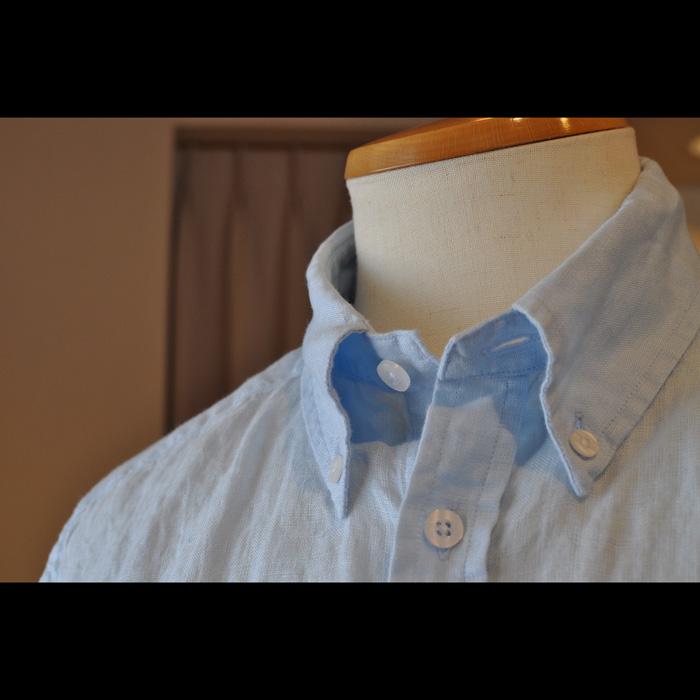 James Mortimer [ジェームスモルティマー]アイリッシュリネンBD シャツ(レギュラーフィット)#Baby Blue