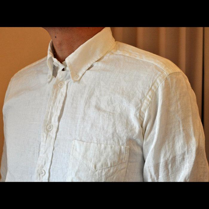 James Mortimerアイリッシュリネン BD POシャツ#Ivory