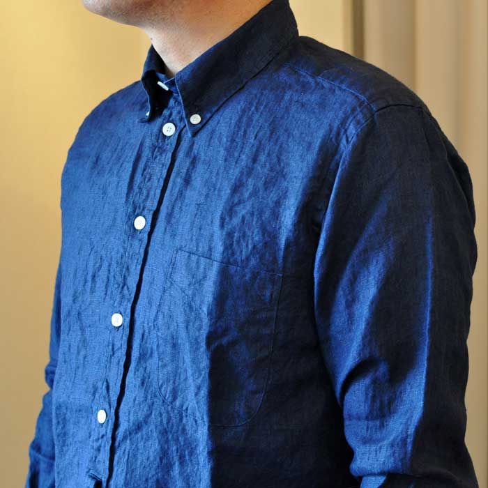 James Mortimerアイリッシュリネン BD POシャツ#Navy