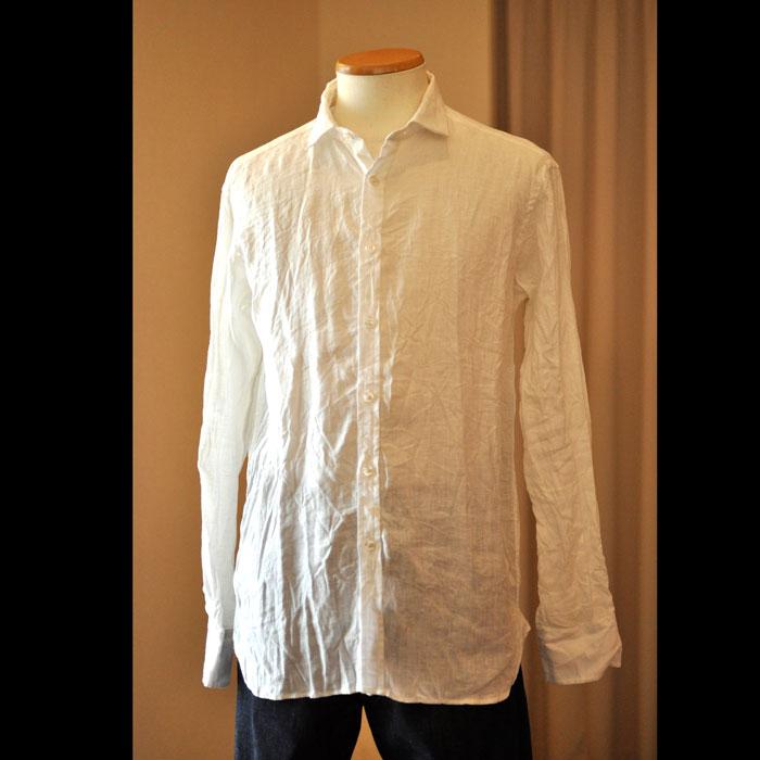 James Mortimer [ジェームスモルティマー] Irish Linen L/Sショートカラーシャツ#Ivory