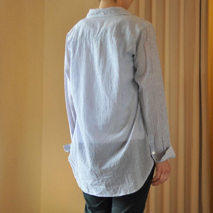 delave[デラヴェ]カディコットンくしゅくしゅシャツWht/Nv Stripe