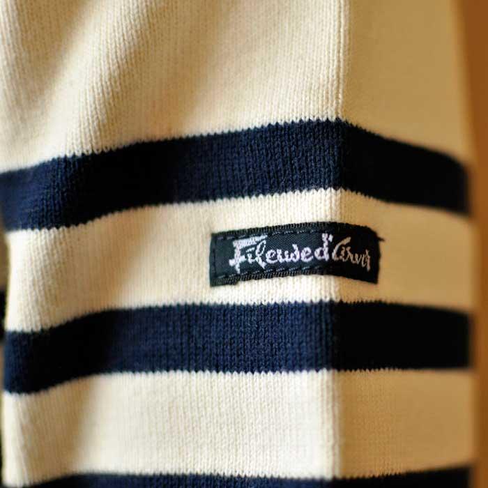 Fileuse d'Alvor [フィルーズダルボー] コットンリブバスクシャツEcru×Marine