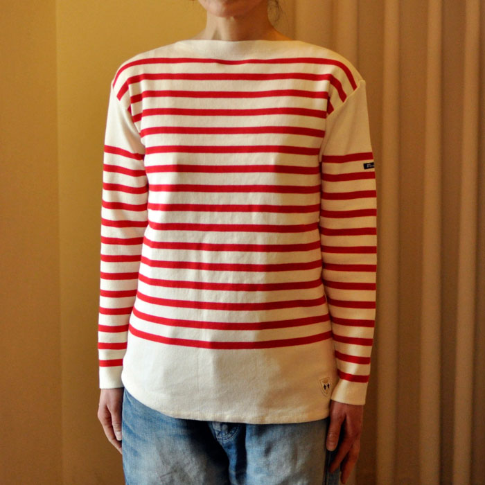Fileuse d'Alvor [フィルーズダルボー] コットンリブバスクシャツEcru×Rouge(生成 x レッド)