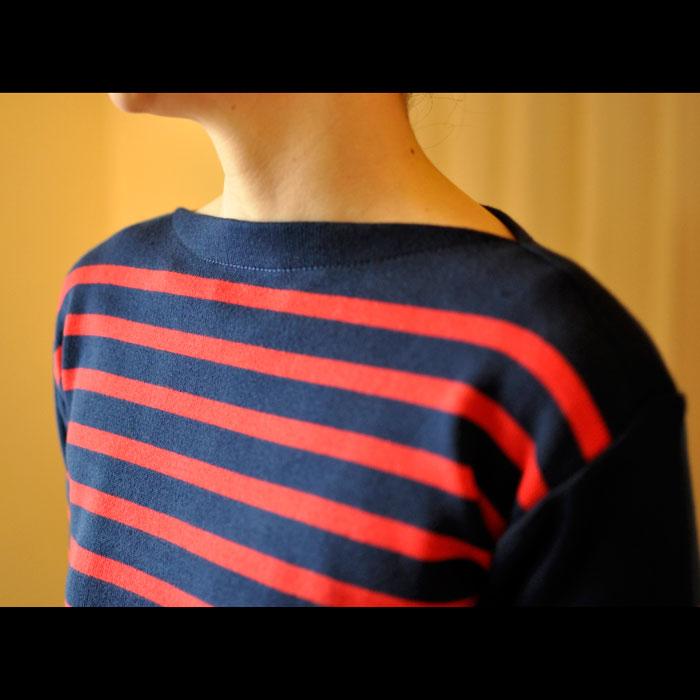 Fileuse d'Alvor [フィルーズダルボー] コットンリブバスクシャツ Marine × Ruge(ネイビー x レッド)