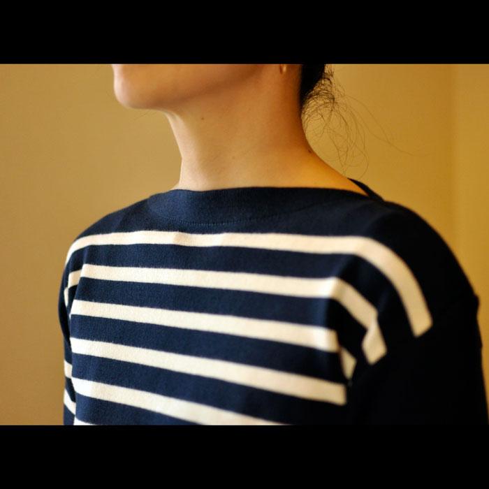 Fileuse d'Alvor [フィルーズダルボー] コットンリブバスクシャツ Marine × Ecru(ネイビー x エクリュー)