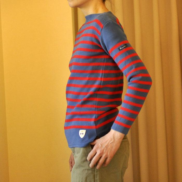 Fileuse d'Alvor [フィルーズダルボー] コットンリブバスクシャツ Pacific Blue x Rouge(Pブルー x レッド)