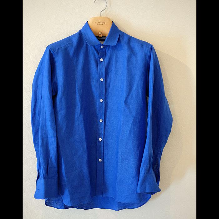 James Mortimer [ジェームスモルティマー] Irish Linen L/Sショートカラーシャツ# Royal