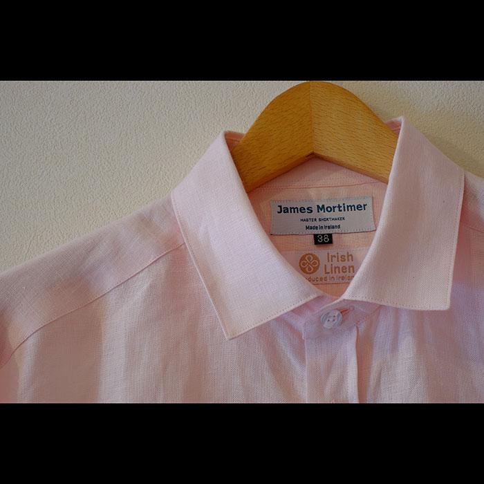 James Mortimer [ジェームスモルティマー] Irish Linen L/Sショートカラーシャツ# baby pink