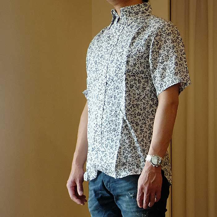O Gran Naso! 花柄リネン半袖BDシャツ#Wht