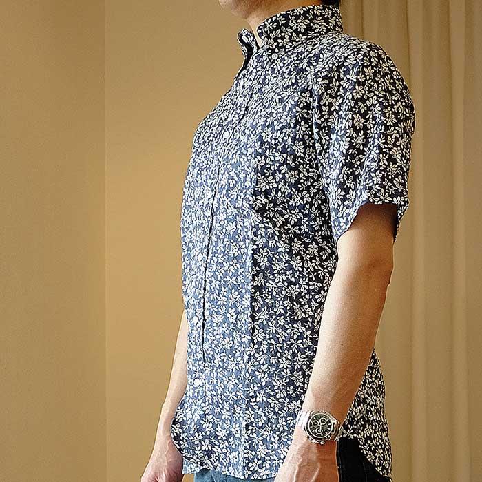 O GRAN NASO!(オーグランナーソ!)花柄リネン半袖BDシャツ#Navy