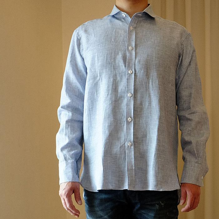 ジェームスモルティマーIrish Linen L/Sレギュラーカラーシャツ#ブルー千鳥