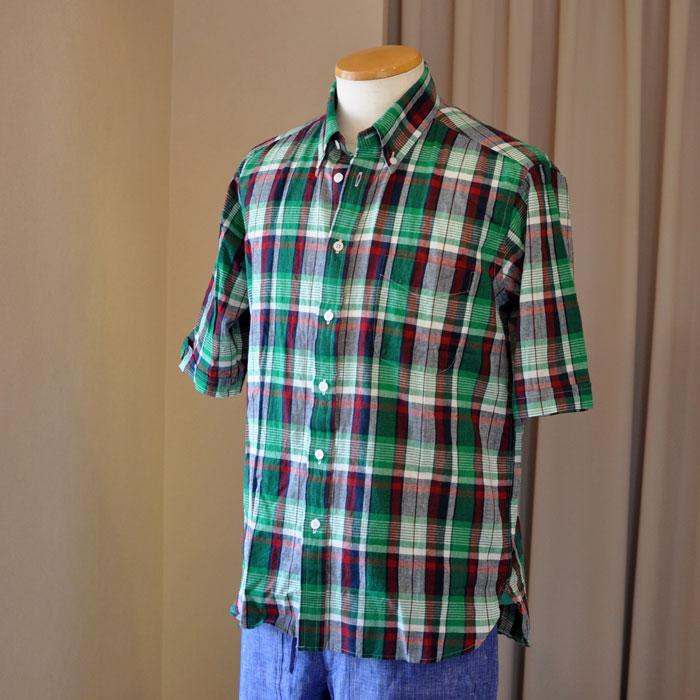 James Mortimer [ジェームスモルティマー]マドラスチェック半袖BDシャツ#GRN