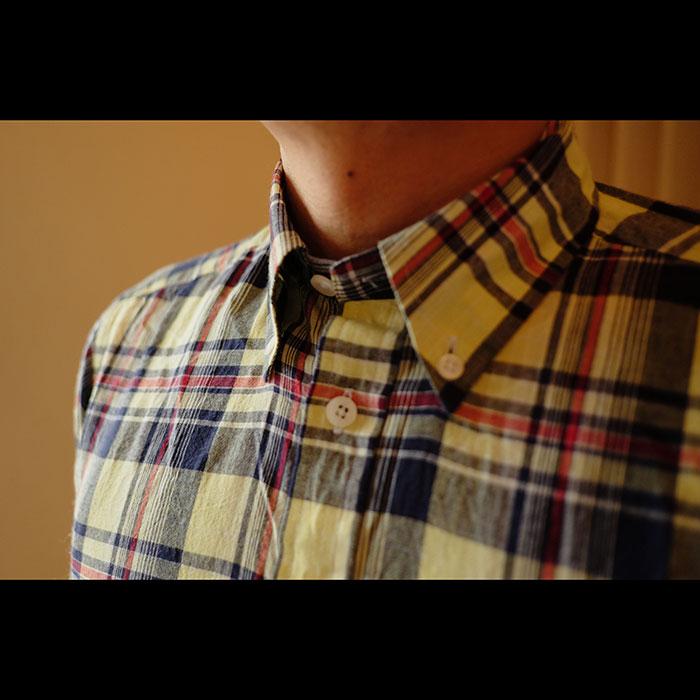 ames Mortimer [ジェームスモルティマー]マドラスチェック半袖BDシャツ#YLW