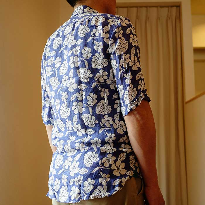 James Mortimer [ジェームスモルティマー] TESTA花柄リネン半袖B.D.シャツ