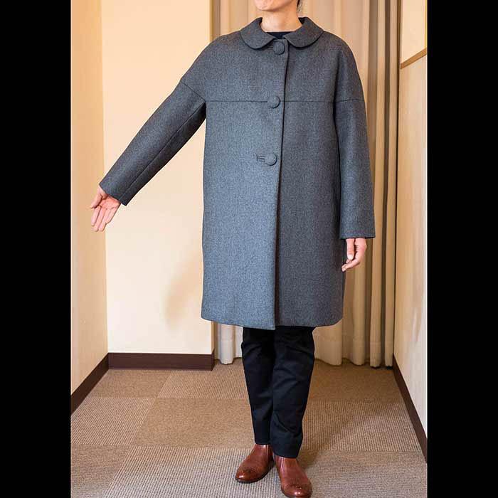 J&M DAVIDSON(ジェイアンドエムデヴィッドソン)丸襟フランネルコート