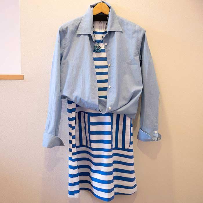 J&M DAVIDSON (ジェイアンドエムデヴィッドソン)'CHASE DRESS'手描き風ボーダーノースリーブワンピース #BONNIE BLUE