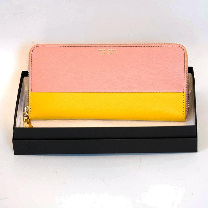 VIOLA dORO(ヴィオラドーロ)ラウンドファスナーバイカラーロングウォレット長財布(V-5022)ROSE PINK X YELLOW