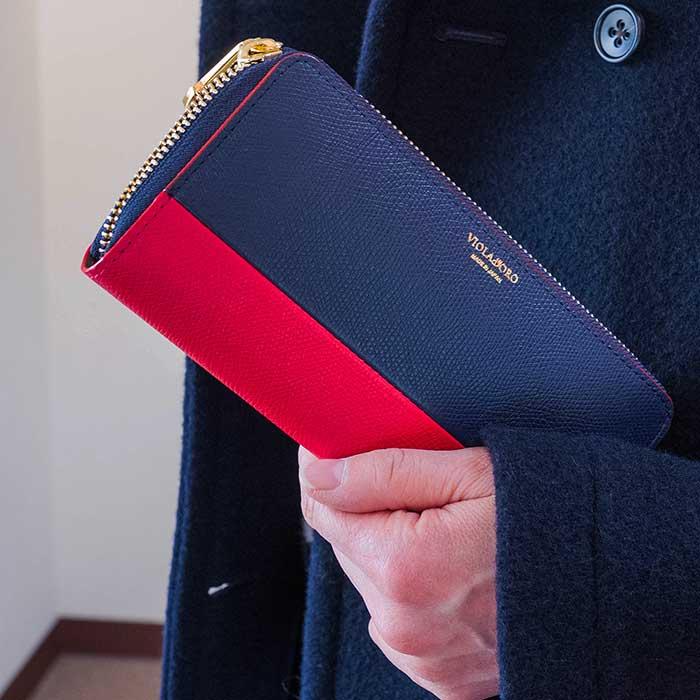 VIOLA dORO(ヴィオラドーロ)ラウンドファスナーバイカラーロングウォレット長財布(V-5022) INK BLUE / RED
