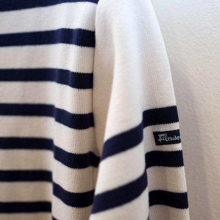 Fileuse d'Arvor[フィルーズダルボー] コットンリブバスクシャツ Ecru×Marine(生成 x ネイビー)