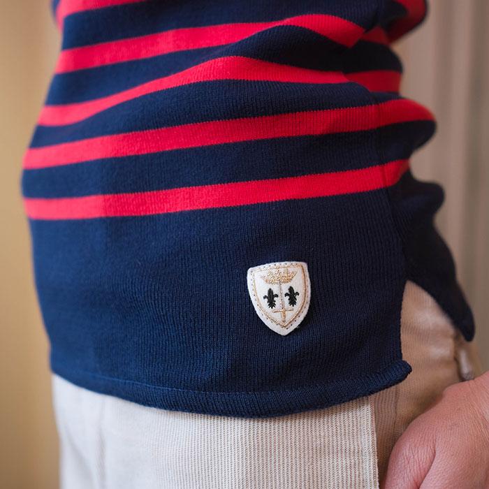 Fileuse dAlvor [フィルーズダルボー] コットンリブバスクシャツ Marine × Ruge(ネイビー x レッド)