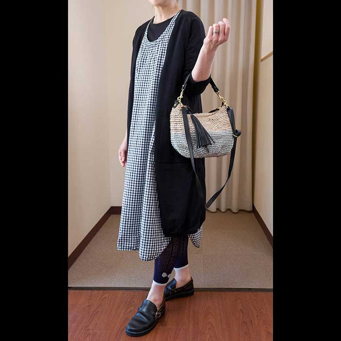 KOFTA [コフタ]リネンコットンVネックロング丈カーディガン(580929)#E black