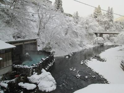 この冬二度目の雪 大沢の湯