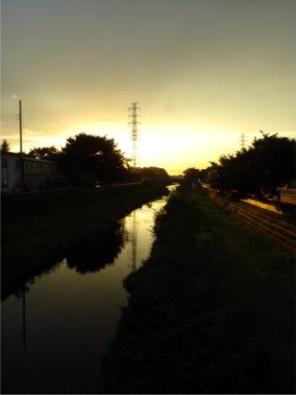 世田谷野川の夕陽