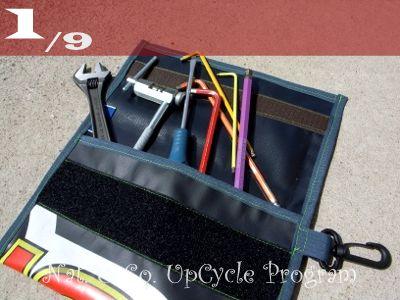 555nat ホロホロ日記  サイクルショップ・アップサイクルプログラム アップサイクルリサイクルポーチ SPEED GAME 使用済みバナーリサイクル(1)
