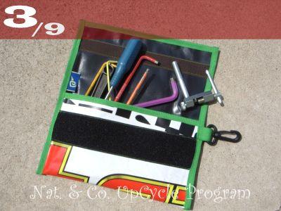 555nat ホロホロ日記  サイクルショップ・アップサイクルプログラム アップサイクルリサイクルポーチ SPEED GAME 使用済みバナーリサイクル(3)