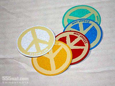ホロホロ日記 555nat.com  リフレクト反射ステッカー ピースマーク Love and Peace 3M 白猫屋 5枚セット販売
