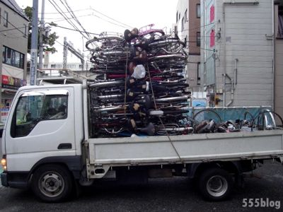 ホロホロ日記 555nat.com 自転車の回収 リサイクル 積まさった