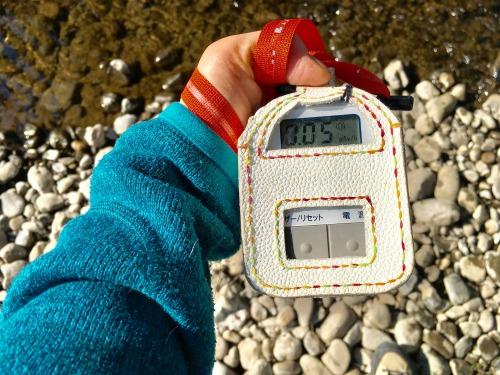 リネン布による多摩川の水の放射能汚染の調査 2019年1月17日 放射能測定(設置場所付近) 555blog 555nat ホロホロ日記