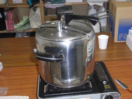 圧力鍋で5分蒸す