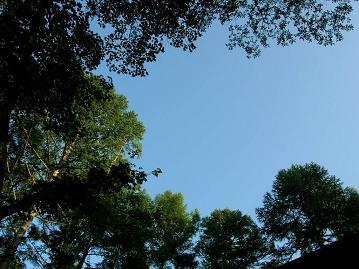小屋の上の空