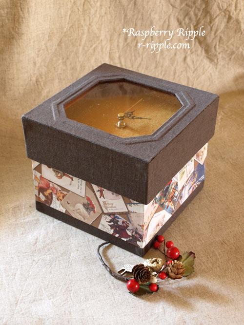 カルトナージュ作品 時計の箱