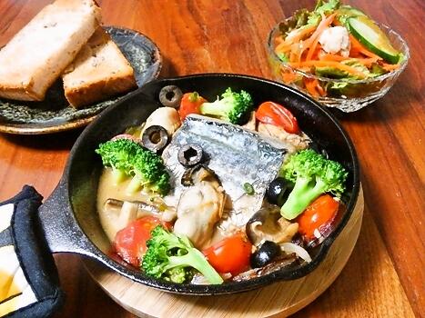 鰆と牡蠣のアクアパッツァ