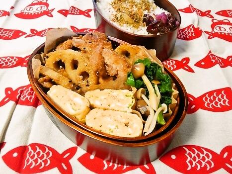 鶏肉とれんこんの味噌炒め弁当