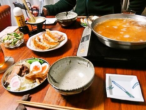 鍋スープで塩らーめん