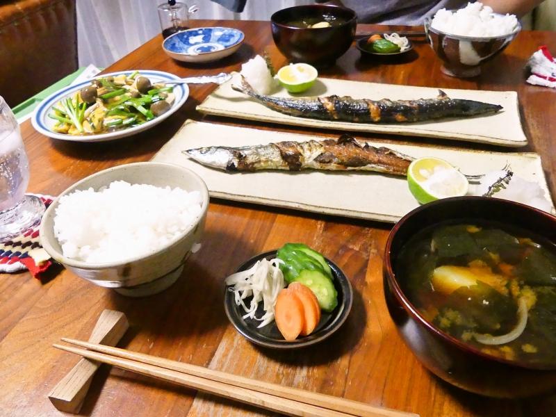 秋刀魚の塩焼き 献立