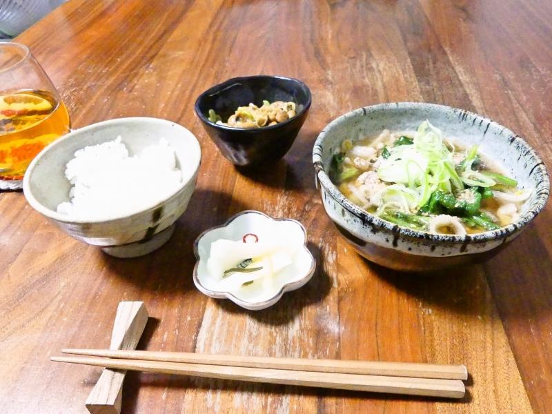納豆ゴハンとスープ