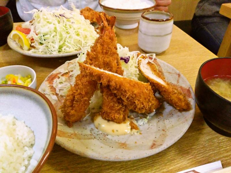 海老フライ&ササミフライ定食