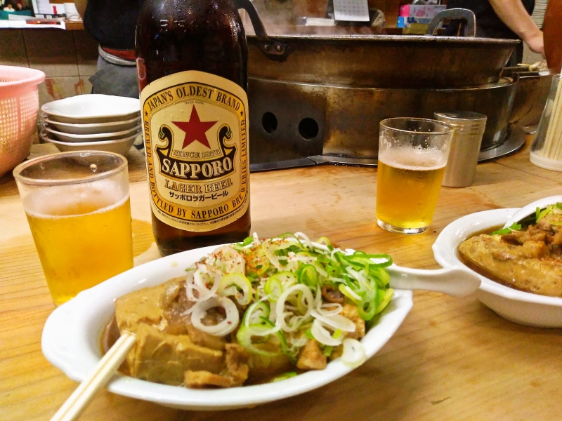 千登利 牛肉豆腐とサッポロ赤星