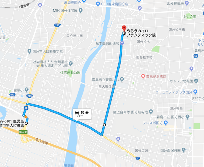 地図、マップ、うるうカイロプラクティック院