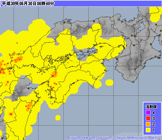 6月30日6時頃の発雷状況