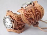 レザーウォッチ(腕時計)フェザーカービング