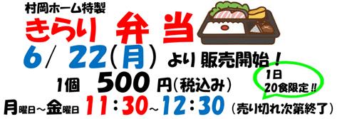 6/22(月)11時30分から12時まで1個500円