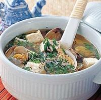 あさりと豆腐のスープ