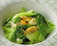 チンゲン菜とアサリのにんにく炒め